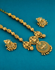 Buy now long haram designs necklace at best price by Anuradha Art Jewe